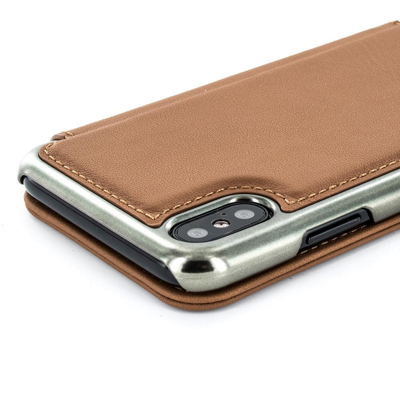 BLAKE Folio with Card Slot for Apple iPhone XS / X - Saddle/Gunmetal Electroplated