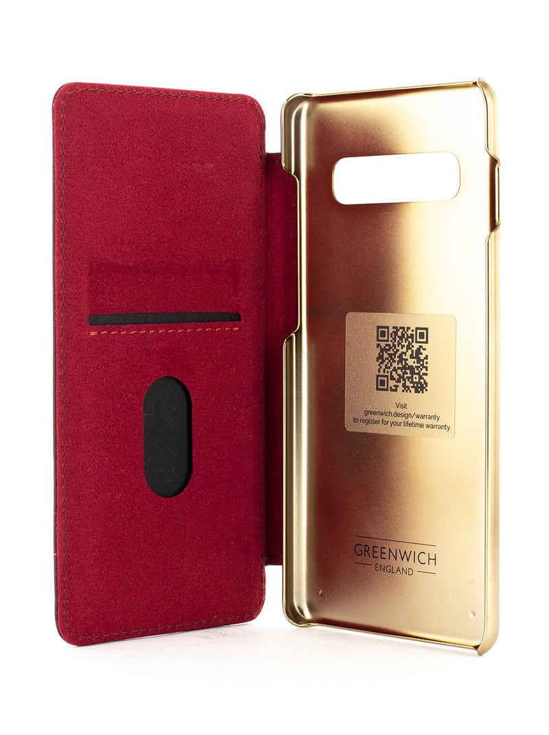 DOGGER Luxury Leather Case for Galaxy S10 Plus - OXBLOOD (RED)/GOLD