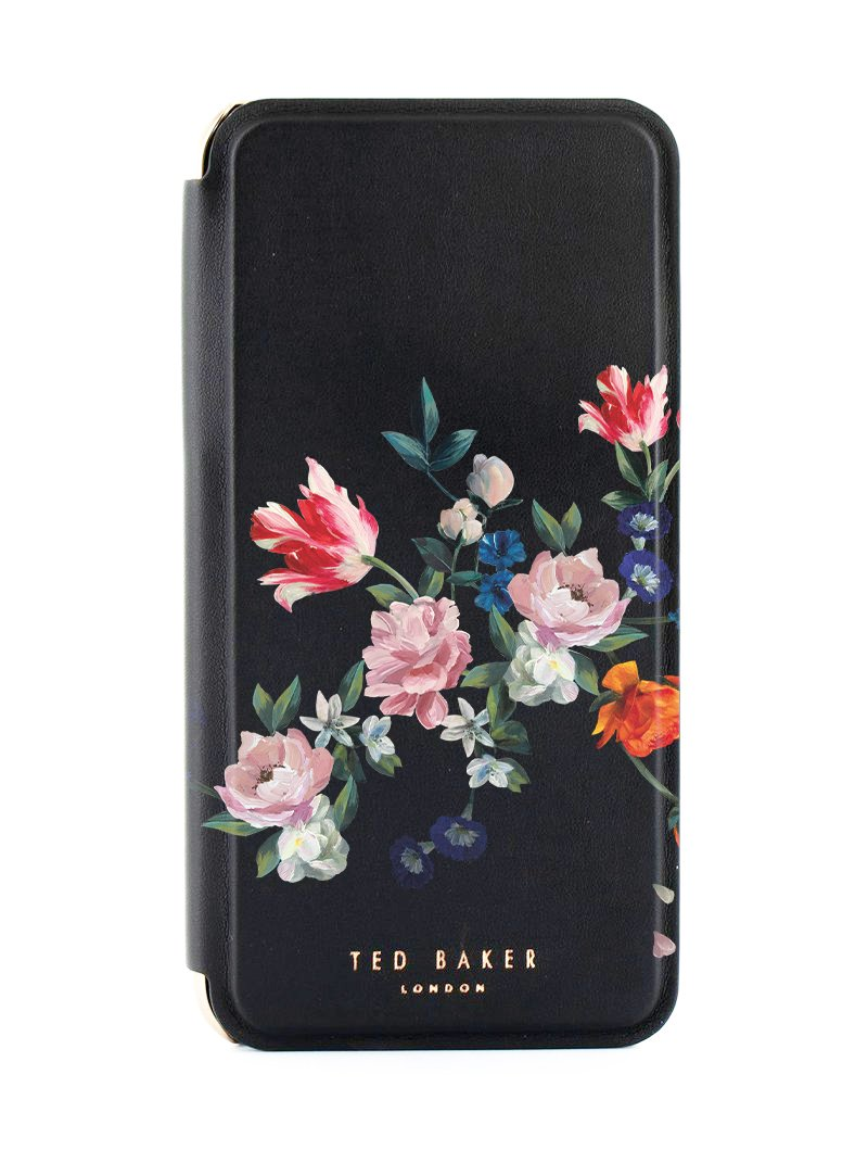 Ted Baker SSABINA Mirror Folio Case for iPhone XR - Sandalwood / Black Silver