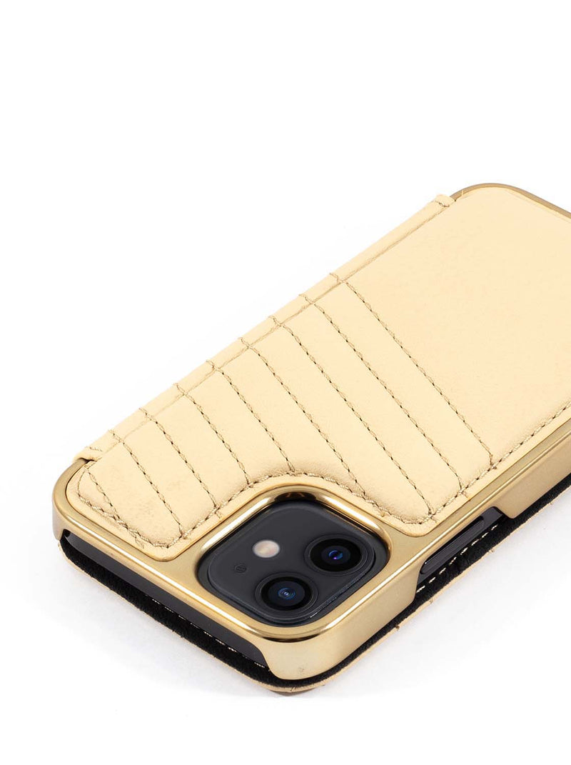 Greenwich PORTLAND Quilted Leather Case for iPhone 12 mini - Shortbread (Cream)