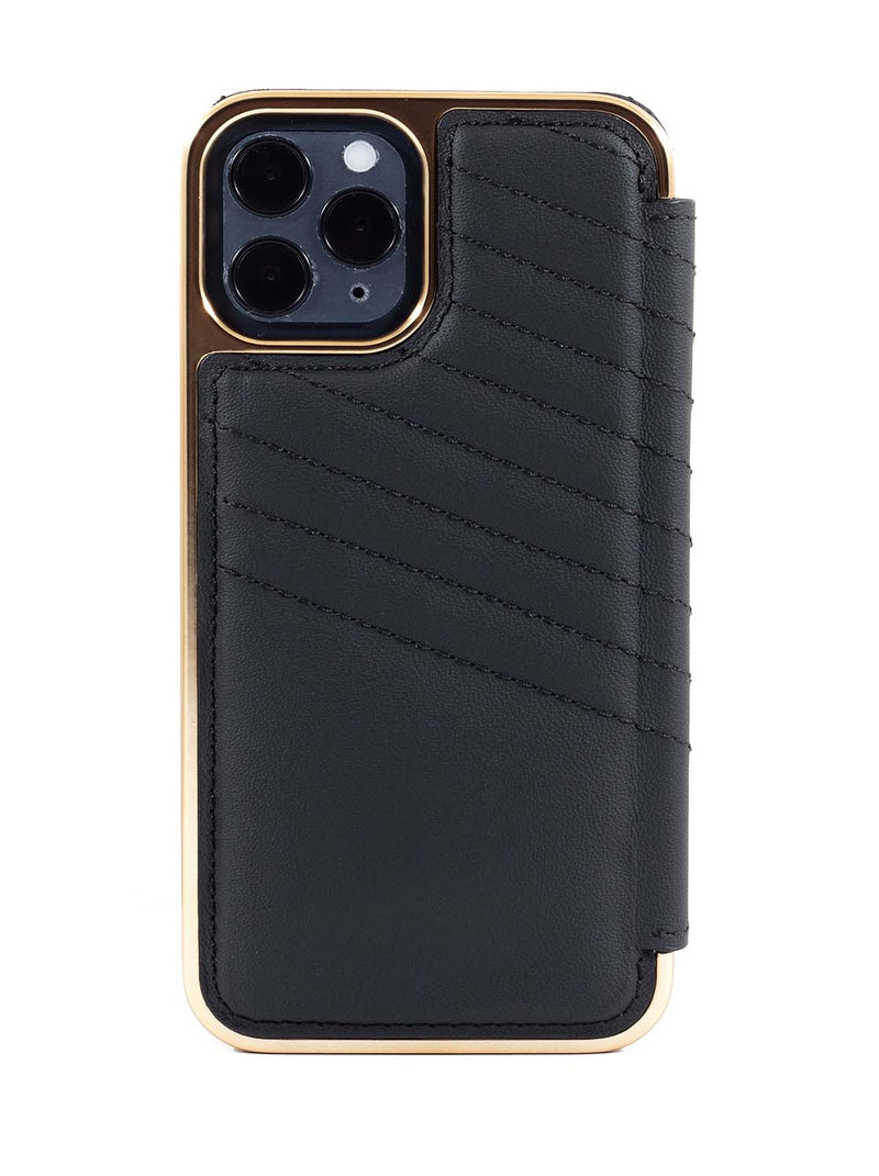 Greenwich PORTLAND Quilted MagSafe Leather Case for iPhone 12  - Beluga (Black)