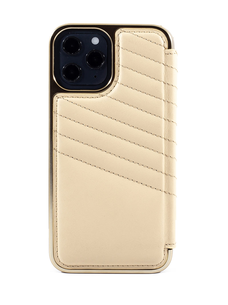 Greenwich PORTLAND Quilted Magsafe Leather Case for iPhone 12 Pro Max - Shortbread (Cream)