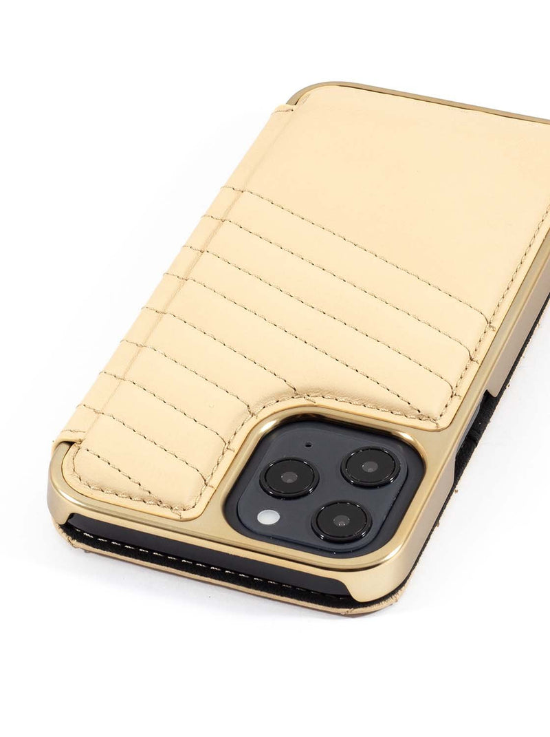 Greenwich PORTLAND Quilted Leather Case for iPhone 12 Pro Max - Shortbread (Cream)