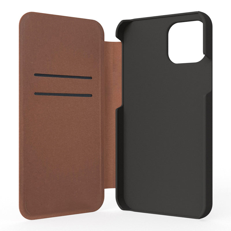 iPhone 12 Mini Leather Folio Phone Case - Black / Brown