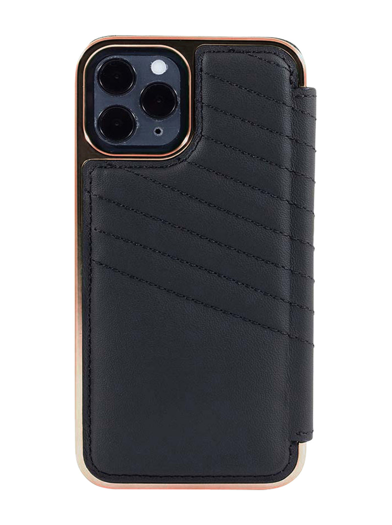 Greenwich PORTLAND Quilted Leather Case for iPhone 12 Pro - Beluga (Black) - Rose Gold