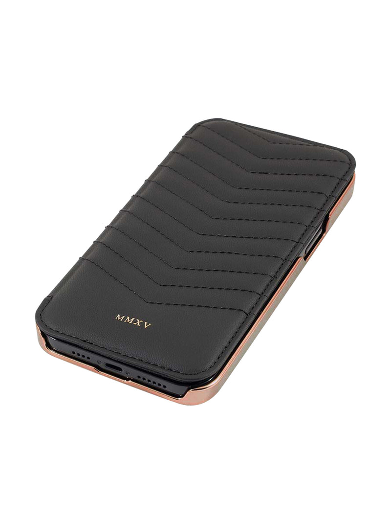 Greenwich PORTLAND Quilted Magsafe Leather Case for iPhone 12 Pro - Beluga (Black) - Rose Gold