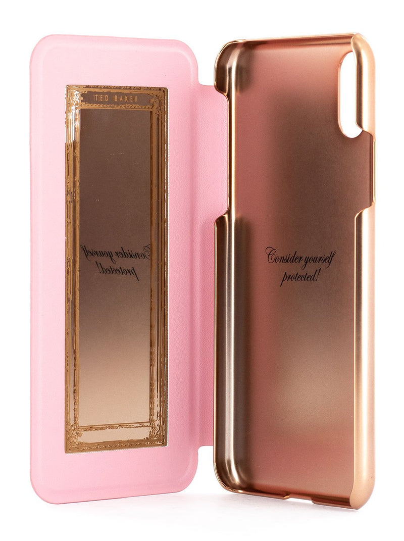 Inside image of the Ted Baker Apple iPhone XS / X phone case in Soft Rose Pink