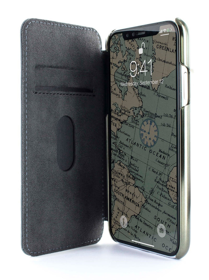 Inside image of the Greenwich Apple iPhone XS Max phone case in Seal Grey