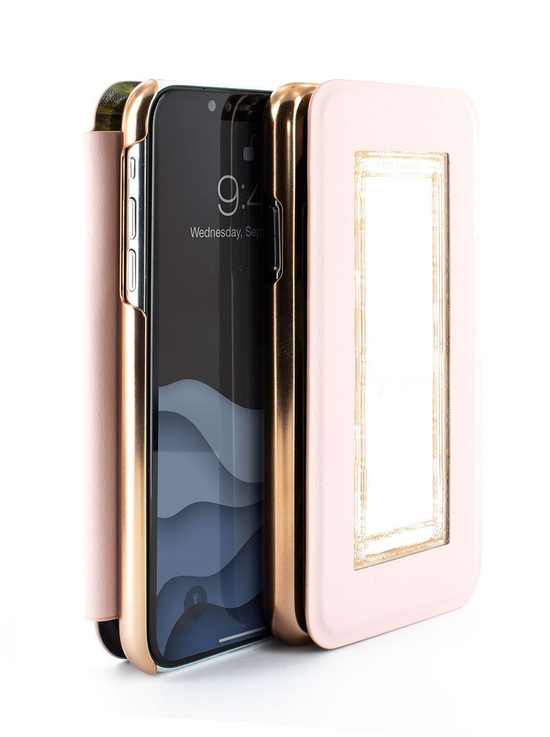Flip-back front and back image of the Ted Baker Apple iPhone XS / X phone case in Black