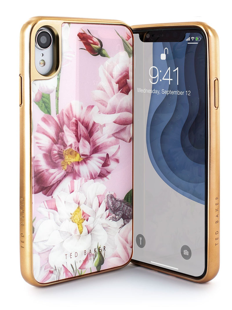 Front and back image of the Ted Baker Apple iPhone XR phone case in Pink