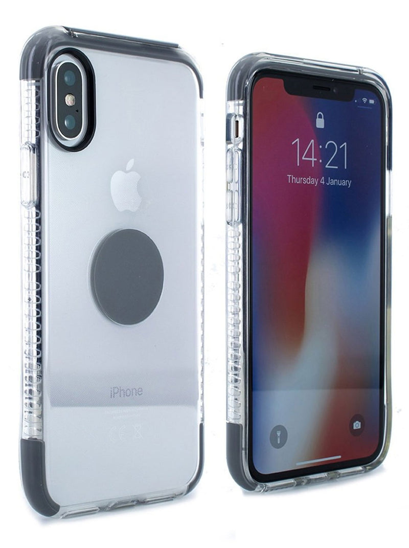 Front and back image of the Proporta Apple iPhone XS / X phone case in Transparent