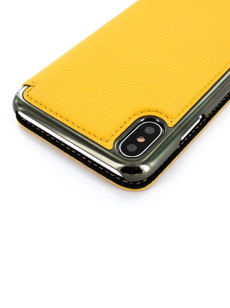 Detail image of the Greenwich Apple iPhone XS Max phone case in Canary Yellow