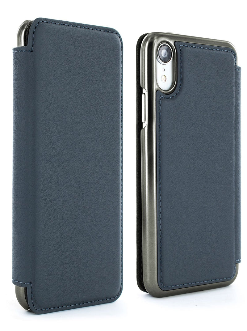 Front and back image of the Greenwich Apple iPhone XR phone case in Seal Grey