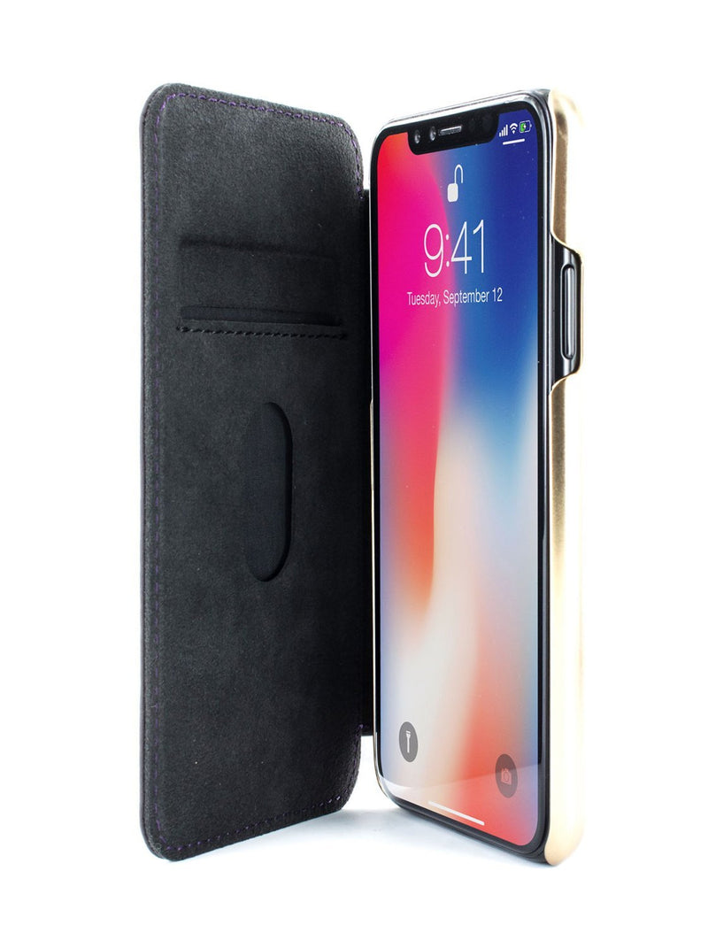 Inside image of the Greenwich Apple iPhone XS / X phone case in Damson Purple