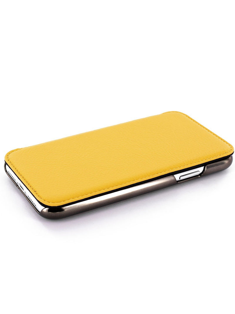 Face up image of the Greenwich Apple iPhone XS Max phone case in Canary Yellow