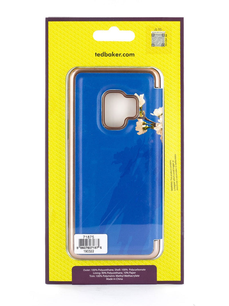 Packaging image of the Ted Baker Samsung Galaxy S9 phone case in Blue