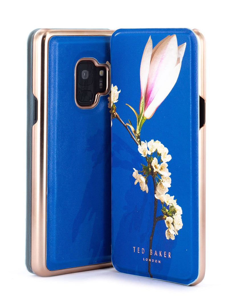 Front and back image of the Ted Baker Samsung Galaxy S9 phone case in Blue