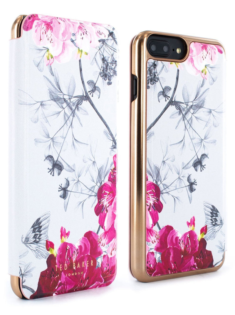 Front and back image of the Ted Baker Apple iPhone 8 Plus / 7 Plus phone case in Babylon Nickel White
