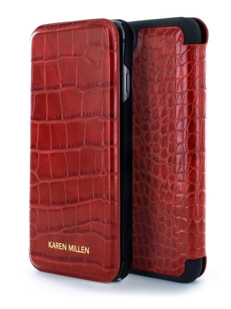 Front and back image of the Karen Millen Apple iPhone 8 / 7 / 6S phone case in Red