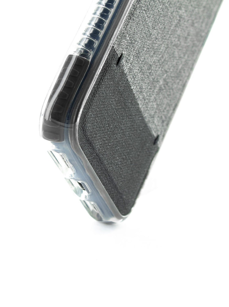 Bottom detail image of the Proporta Apple iPhone XR phone case in Grey