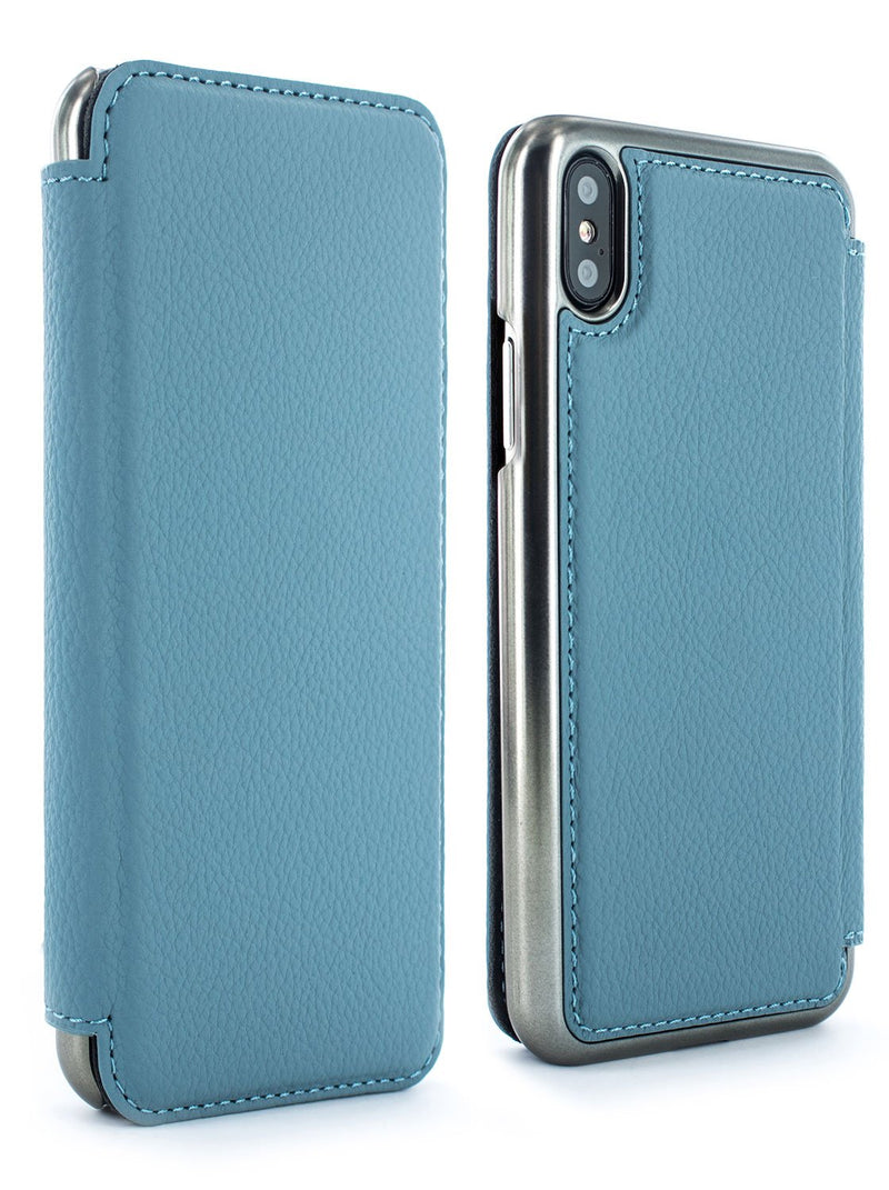 Front and back image of the Greenwich Apple iPhone XS Max phone case in Tahiti Blue