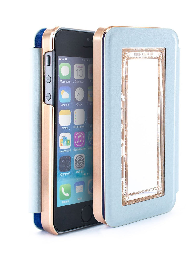 Flip-back front and back image of the Ted Baker Apple iPhone SE / 5 phone case in Blue
