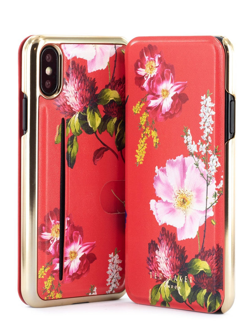 Front and back image of the Ted Baker Apple iPhone XS / X phone case in Berry Sundae Red