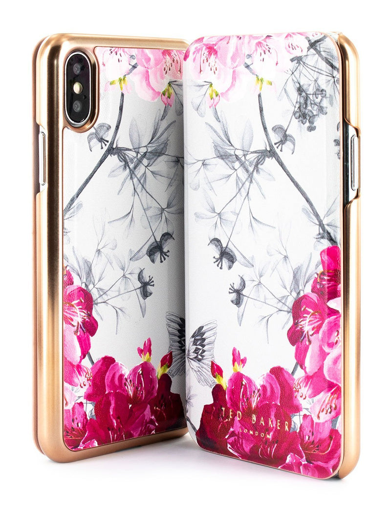 Front and back image of the Ted Baker Apple iPhone XS / X phone case in Babylon Nickel