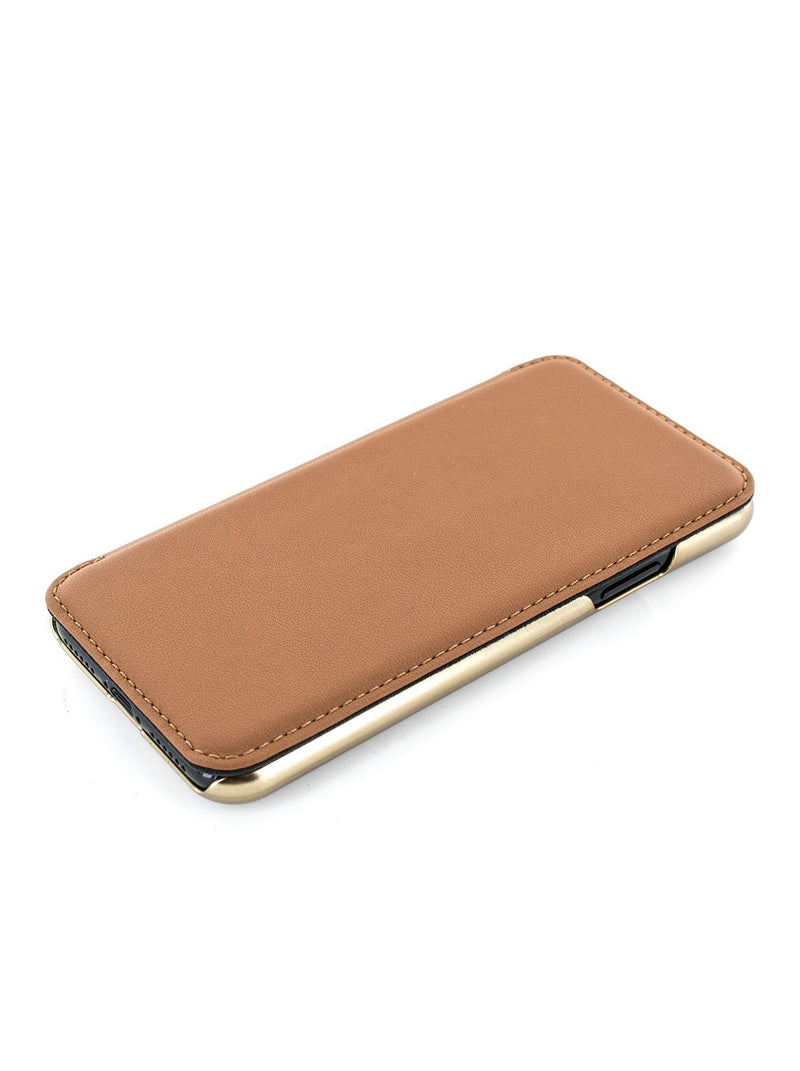 Face up image of the Greenwich Apple iPhone XS / X phone case in Saddle Brown