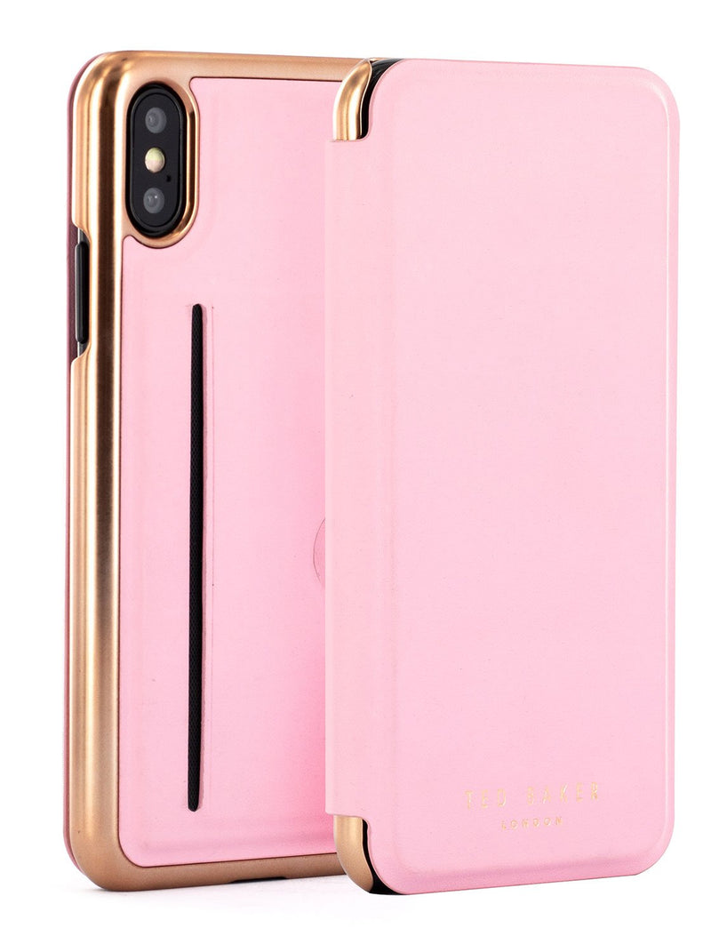 Front and back image of the Ted Baker Apple iPhone XS / X phone case in Soft Rose Pink