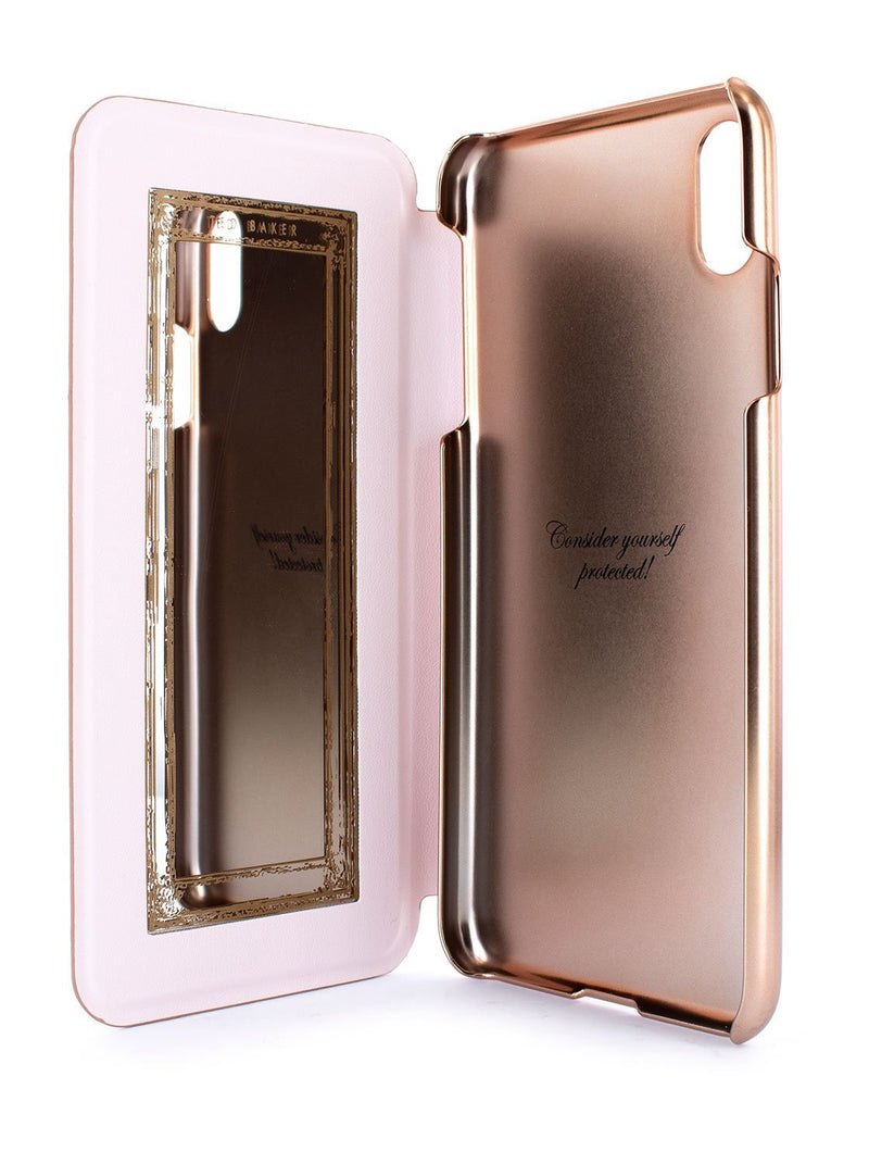 Inside image of the Ted Baker Apple iPhone XR phone case in Rose Gold