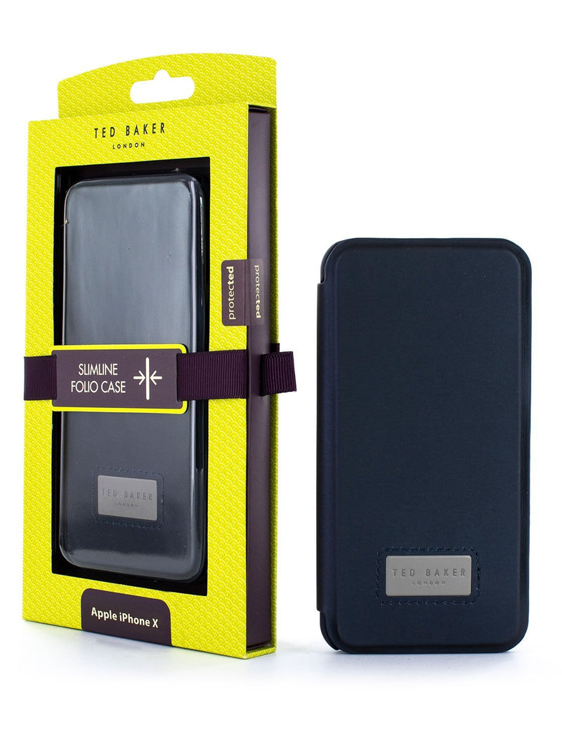 Packaging image of the Ted Baker Apple iPhone XS / X phone case in Navy Blue