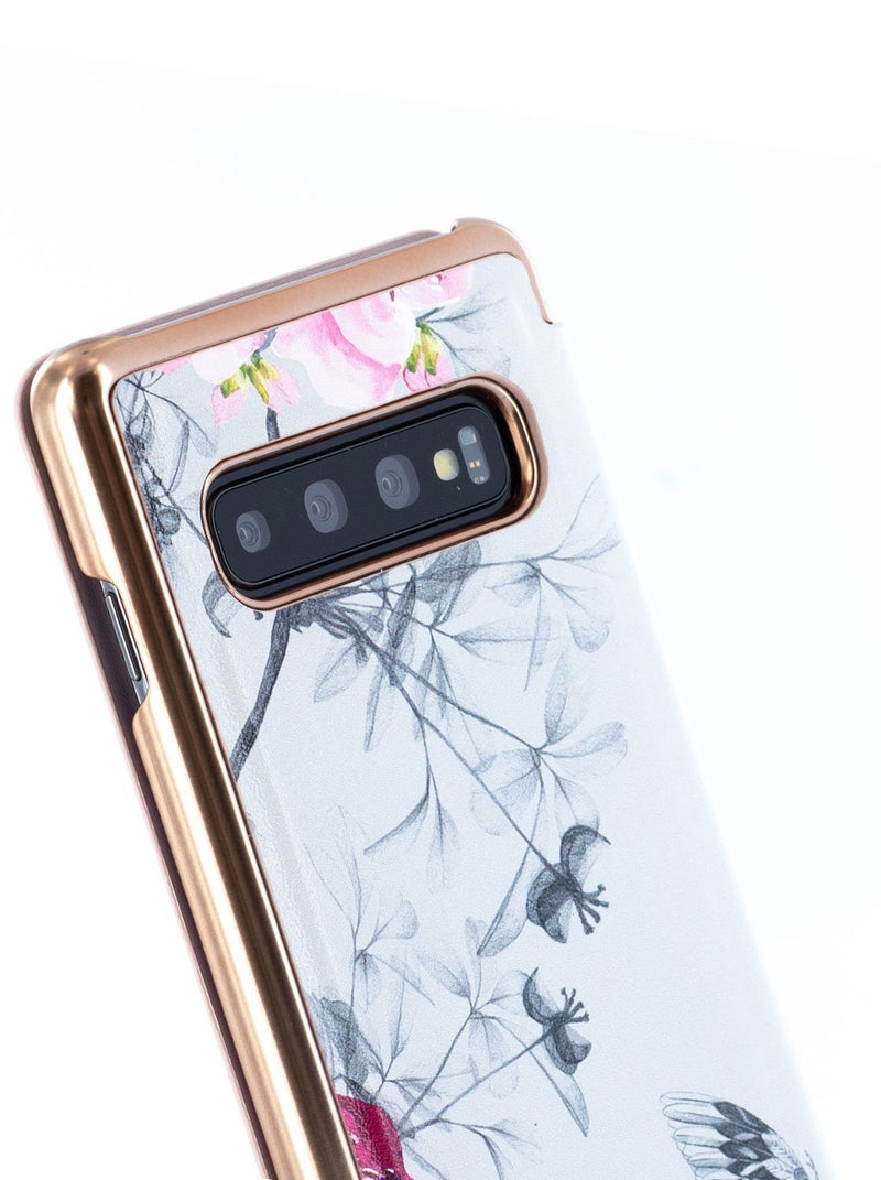 Detail image of the Ted Baker Samsung Galaxy S10 phone case in Babylon Nickel