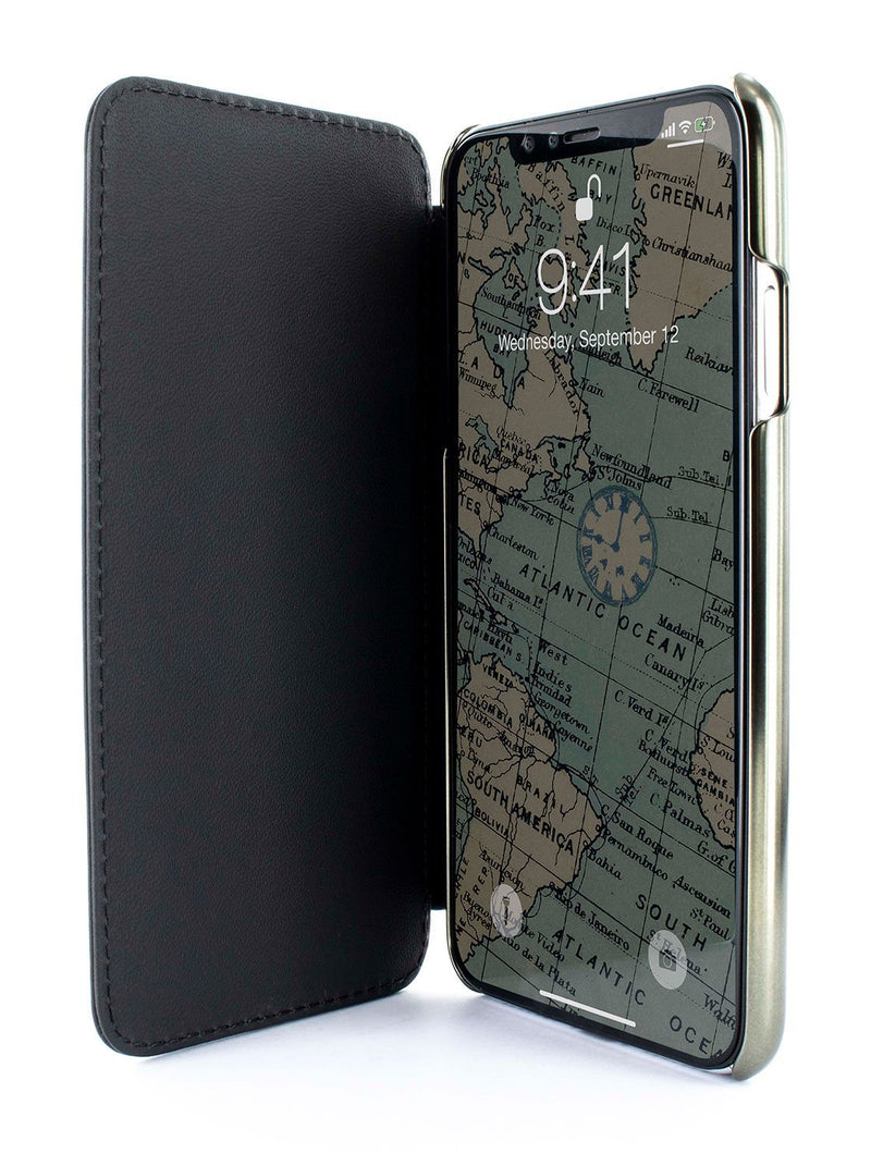 Inside image of the Greenwich Apple iPhone XS Max phone case in Beluga Black