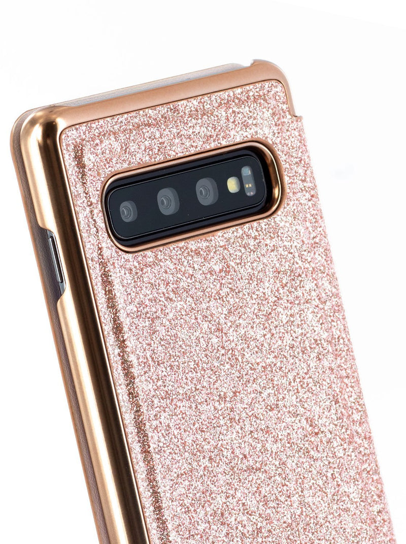 Detail image of the Ted Baker Samsung Galaxy S10 phone case in Rose Gold