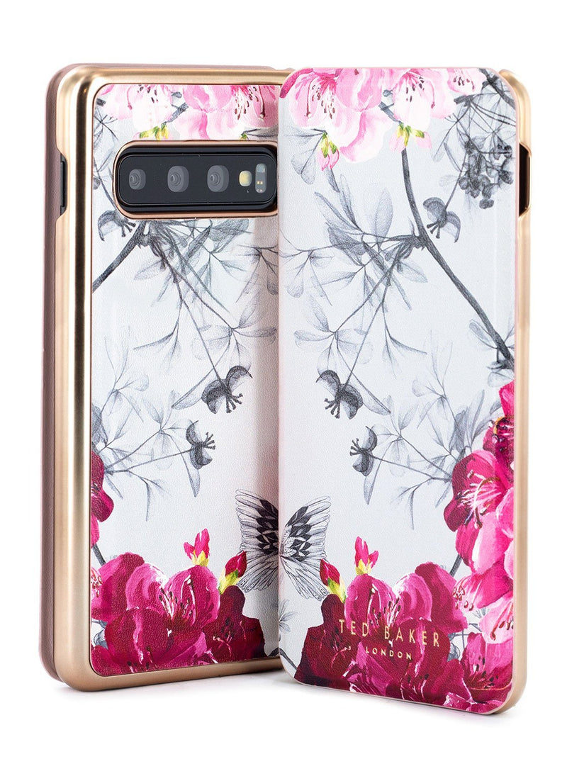 Front and back image of the Ted Baker Samsung Galaxy S10 phone case in Babylon Nickel