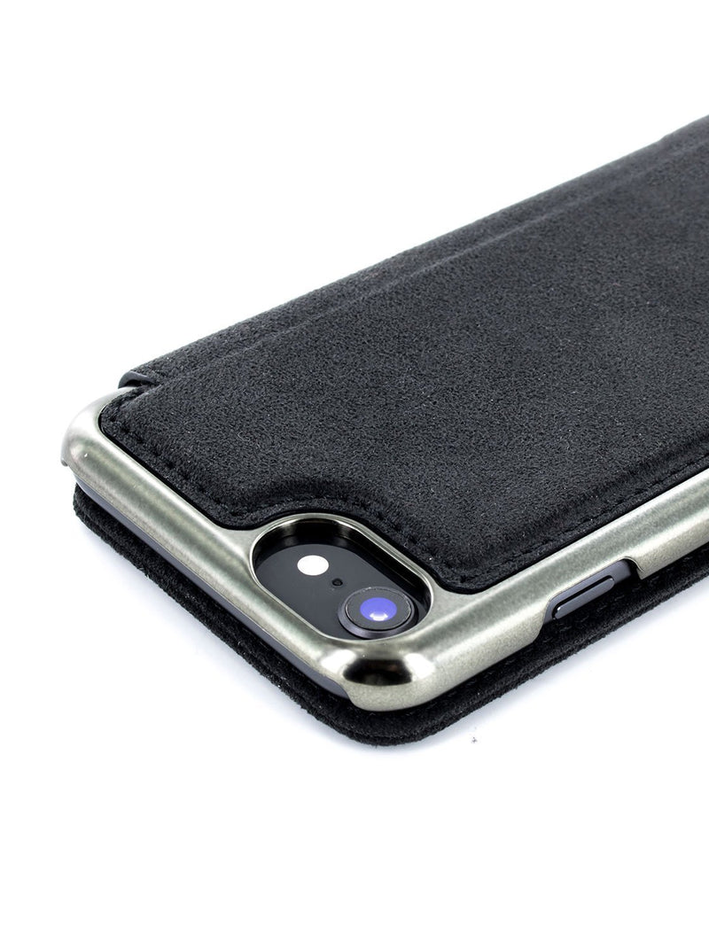 Detail image of the Greenwich Apple iPhone 8 / 7 / 6S phone case in Alcantara