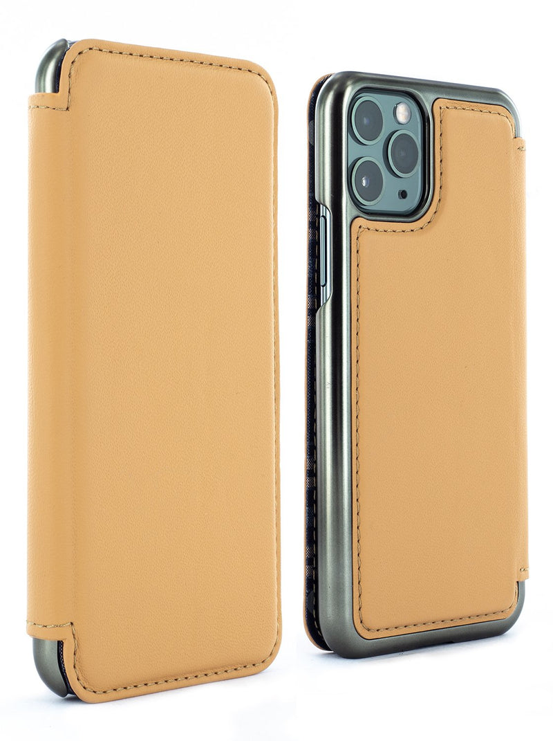 DOGGER Luxury Leather Case for iPhone 11 Pro - CARAMEL/GUNMETAL