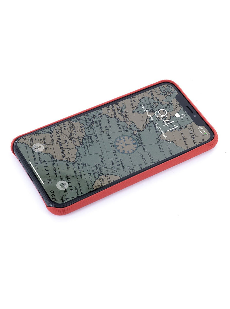 Face up image of the Greenwich Apple iPhone XS Max phone case in Red