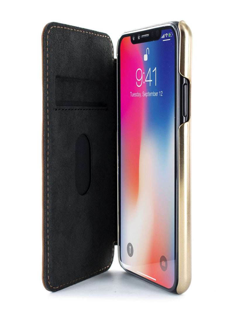 Inside image of the Greenwich Apple iPhone XS / X phone case in Saddle Brown