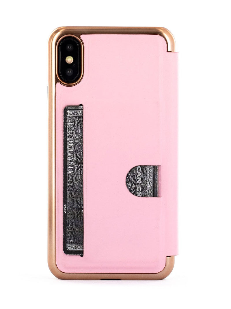 Back card slot image of the Ted Baker Apple iPhone XS / X phone case in Soft Rose Pink