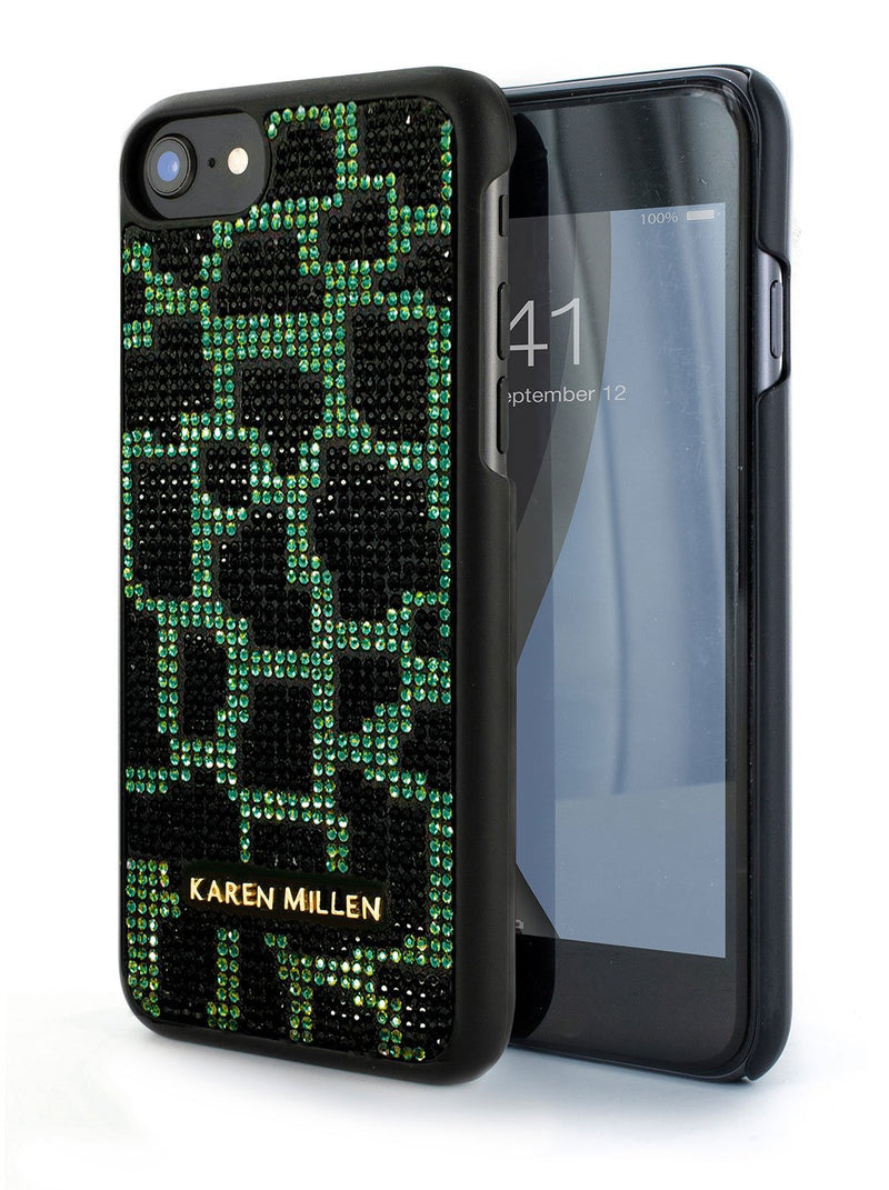 Front and back image of the Karen Millen Apple iPhone 8 / 7 / 6S phone case in Black