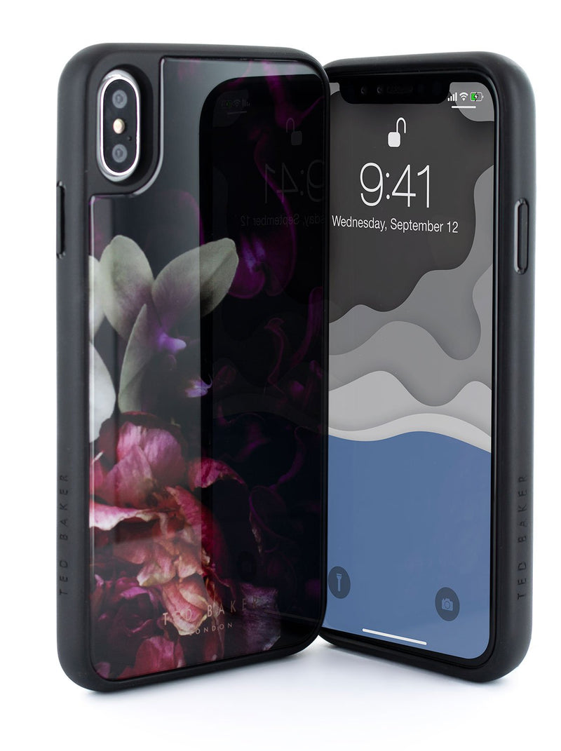 Front and back image of the Ted Baker Apple iPhone XS Max phone case in Black