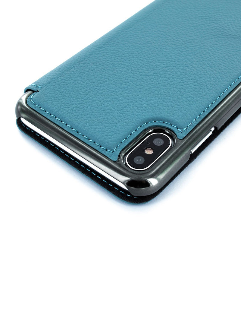 Detail image of the Greenwich Apple iPhone XS Max phone case in Tahiti Blue