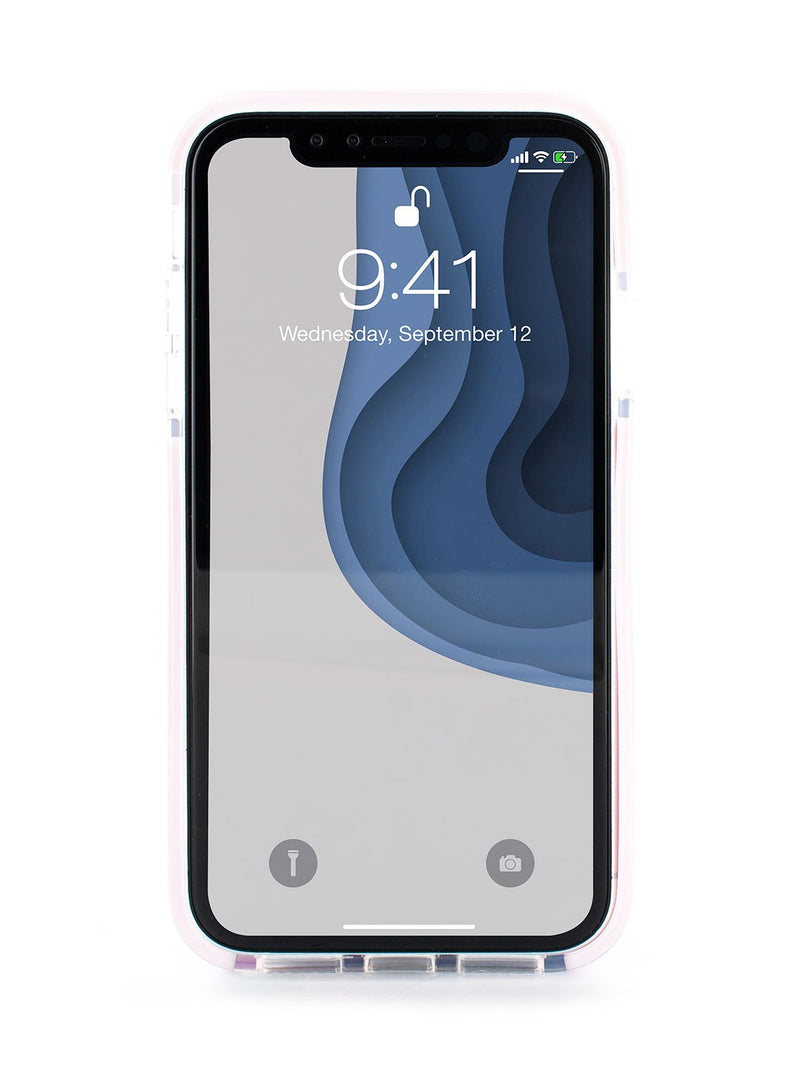 Front image of the Ted Baker Apple iPhone XR phone case in Clear Print