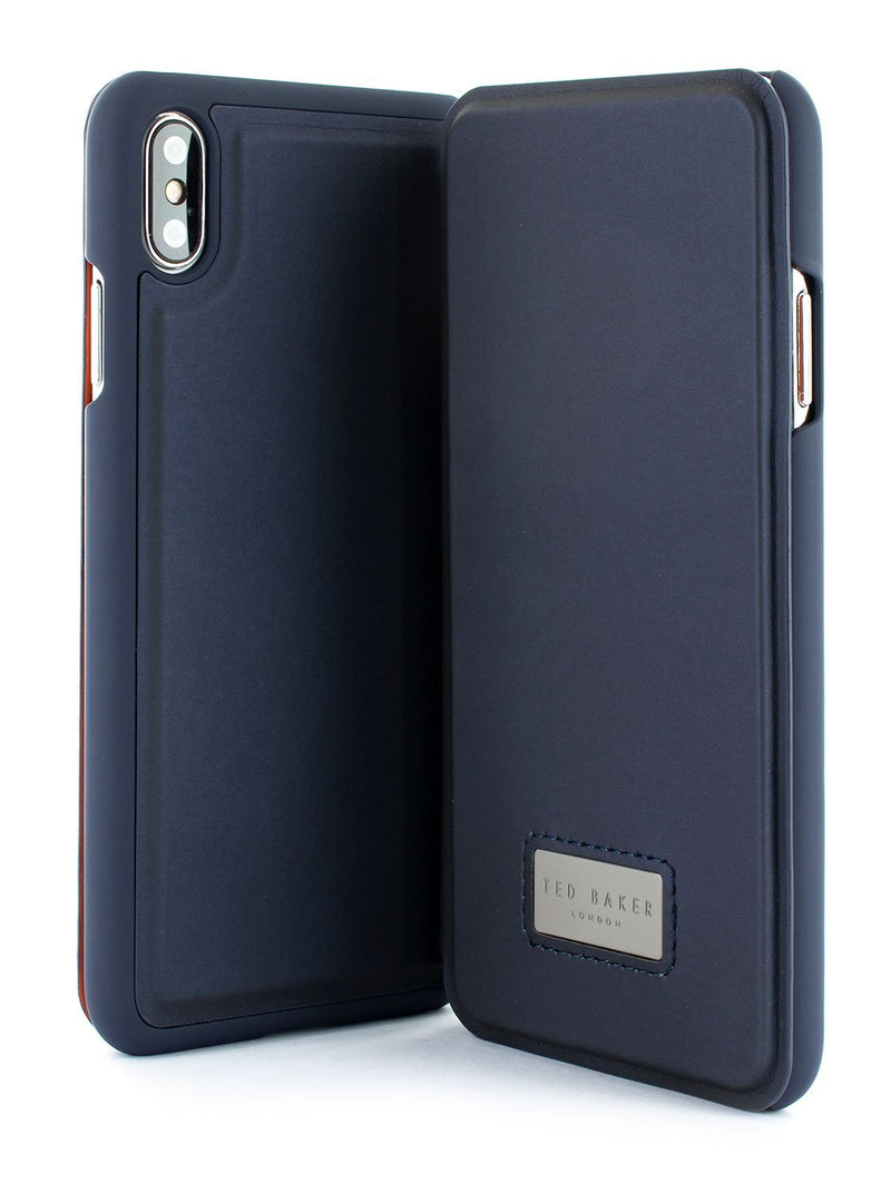 Front and back image of the Ted Baker Apple iPhone XS Max phone case in Navy Blue