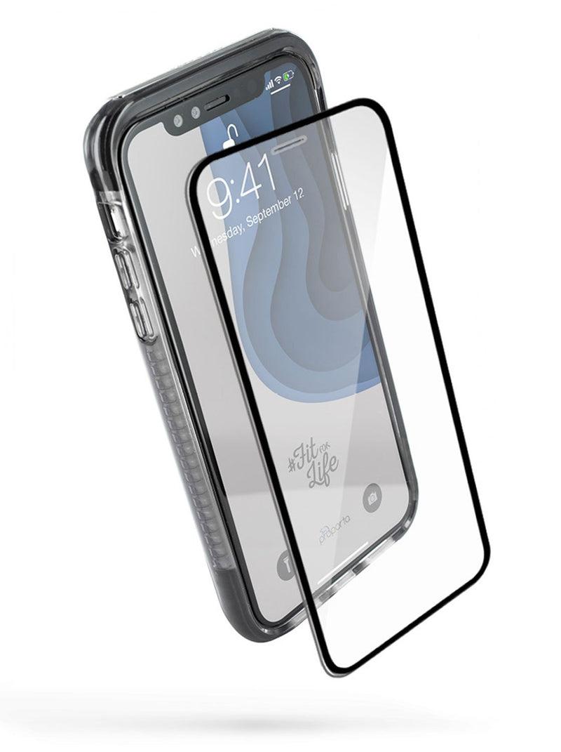 Front with Screen protector image of the Proporta Apple iPhone XR phone case in Black