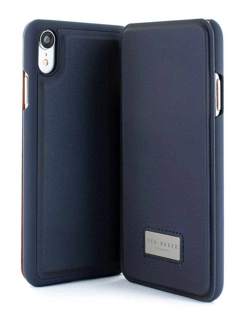 Front and back image of the Ted Baker Apple iPhone XR phone case in Navy Blue