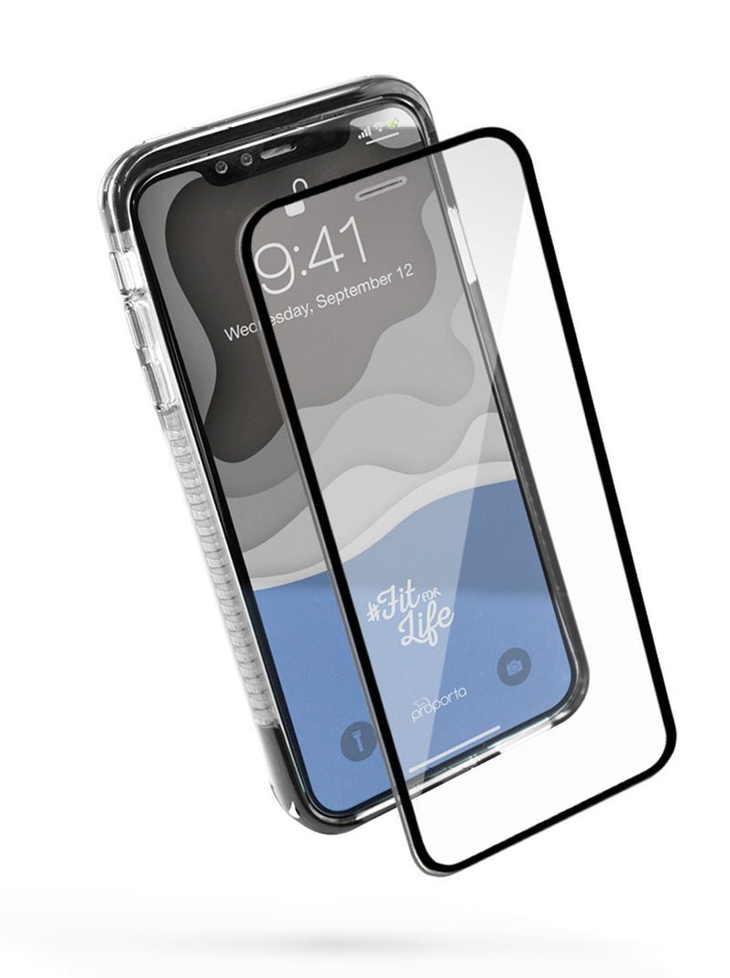 Front with Screen protector image of the Proporta Apple iPhone XS Max phone case in Black