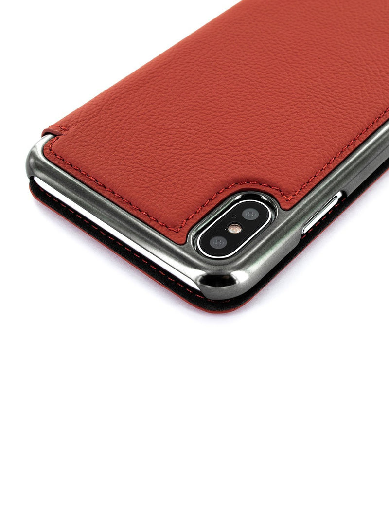 Detail image of the Greenwich Apple iPhone XS Max phone case in Scarlet Red
